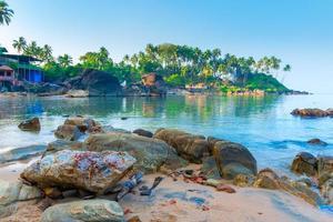kokospalmen op het strand verlicht door de ochtendzon