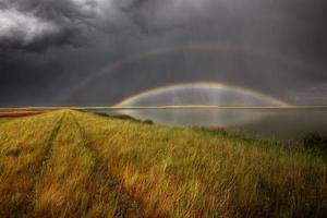 onweerswolken en regenboog over de moerassen van het chaplin-meer
