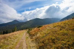 onverharde weg naar bergen in de Karpaten foto