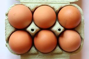 zes eieren in een eierdoos
