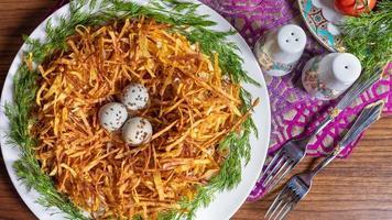 Meerkoet eieren in delicate aardappel