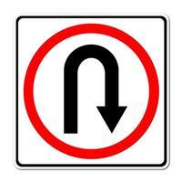 draai terug verkeersbord foto