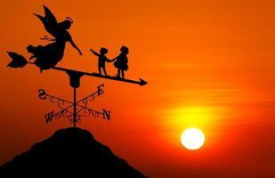 windwijzer bij zonsondergang foto