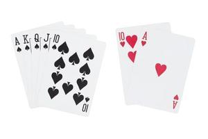 royal straight flush schoppen en blackjack speelkaarten foto
