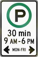 half uur parkeren op bepaalde tijden in Canada