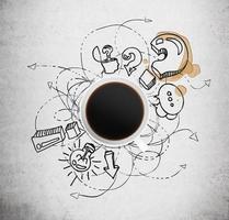 bovenaanzicht van een kopje koffie en zakelijke pictogrammen foto