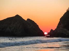 perfecte zonsondergang, zipolite, oaxaca, mexico
