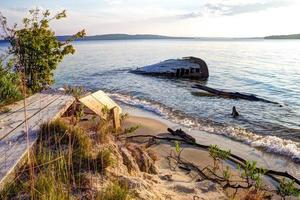 strandde schipbreuk in Lake Superior
