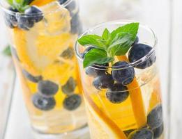 detoxwater met sinaasappel, munt en bosbessen.