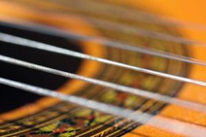 close-up van gitaarsnaren