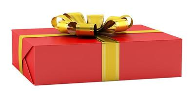 rode geschenkdoos met gouden lint geïsoleerd op een witte achtergrond foto