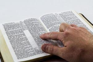 het lezen van een bijbel op witte achtergrond foto