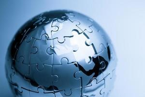 globale strategie & oplossing bedrijfsconcept, puzzel