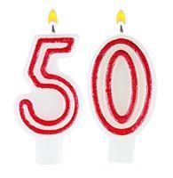 birthday kaarsen nummer vijftig geïsoleerd op een witte achtergrond foto