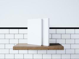 bespotten van lege witte boeken. 3D-weergave foto