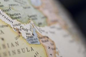 macro globe kaart detail verenigde arabische emiraten foto