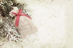 vintage kerst cadeau zak decoratie achtergrond foto