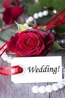 label met bruiloft foto