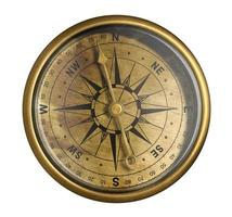 antiek nautisch kompas dat op wit wordt geïsoleerd foto