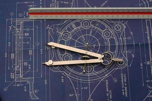 vintage blauwdruk en tools foto