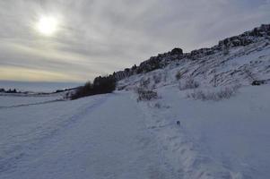 weg naar þingvellir nationaal park, IJsland op een besneeuwde dag