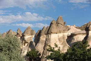 rotsformaties in het nationale park van goreme. Cappadocië foto