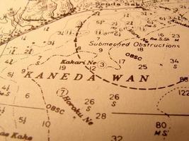 antieke zeekaart van de baai van tokyo