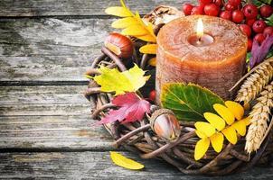 herfst krans met kaars
