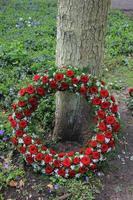 rouwkrans bij een boom