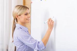 glimlachende leraar die op het whiteboard schrijft