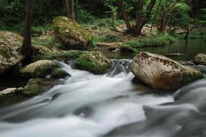 zijdeachtige rivier stroomt in de buurt van waterval bekend als santa margarida