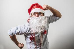 grappige kerstman babbo natale bijziend foto