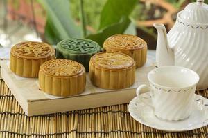 maancake op het dienblad kruik thee