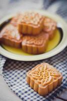 retro vintage stijl chinees medio herfst festival voedsel. traditie