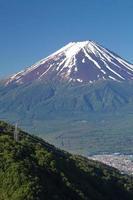 Mt Fuji in het zomerseizoen van Kawaguchiko Lake, Yamanashi foto