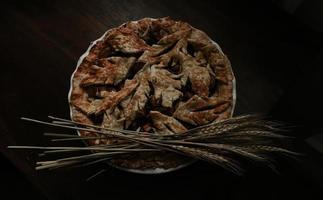 plat lag food fotografie van gebakken appeltaart