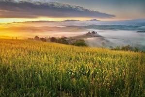 velden en mist in het Toscaanse landschap