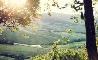 landschap van Toscaanse heuvels met lensflare