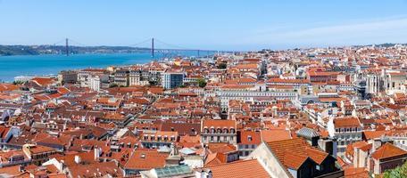 Lissabon historische stad panorama, portugal foto