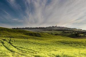 vroeg in de ochtend boven Pienza, Toscane
