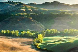 geweldige mist op velden in Toscaanse stralen van zonsopgang, Italië