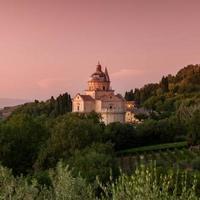 Basilica di San Biagio in de schemering, Montepulciano, Toscane, Italië