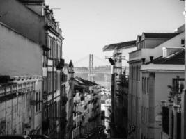grijswaardenfoto van Lissabon, portugal