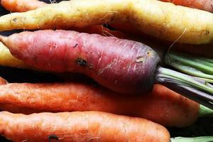kleurrijke wortelen voor voedselachtergrond foto