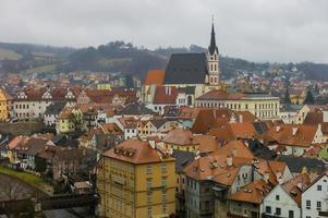 Cesky Krumlov, stadsgezicht van de oude stad foto
