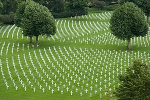 overzicht amerikaanse WOII begraafplaats met bomen foto
