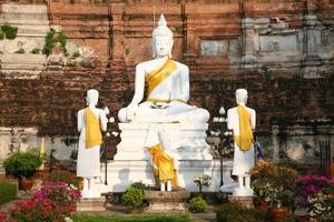 boeddha-beelden in de wat yai chai mongkhon in ayuthaya foto