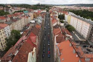 Vysehrad-fort vanaf de Nusle-brug in Praag. foto