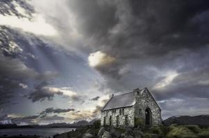 panoramisch van de kerk van de goede herder, meer tekapo