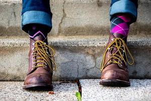 laarzen met leuke sokken
